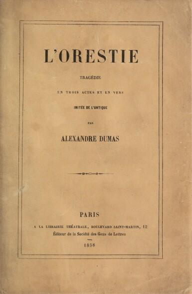 """View 3. Thumbnail of Lot 94.  L'Orestie. 1856. Ed. originale. Rare exemplaire sur papier bleu, avec envoi """"à la mort et à l'exil...""""."""