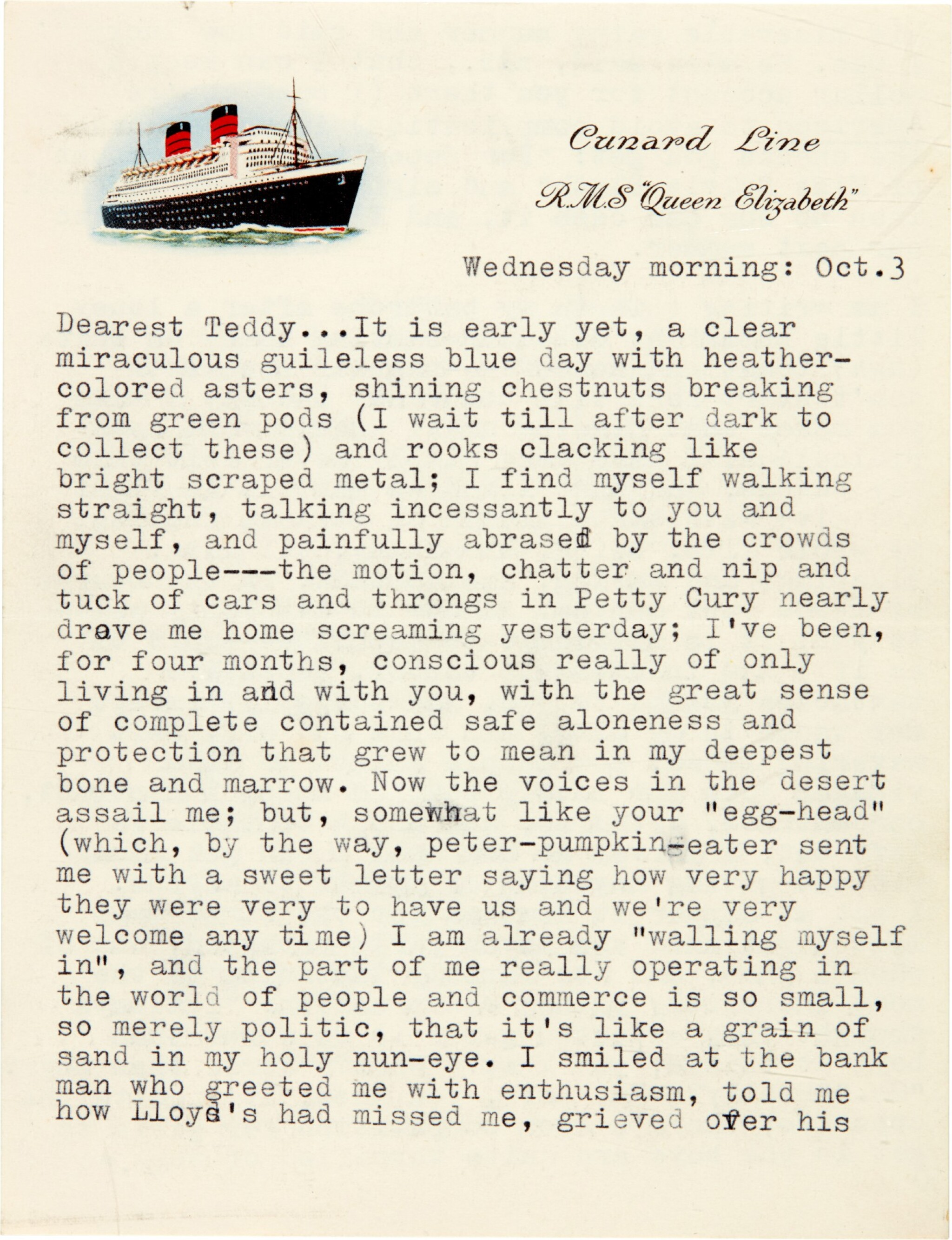 View full screen - View 1 of Lot 7. Sylvia Plath | Typed letter signed, to Ted Hughes, on her love for him and Cambridge life, 3 October 1956.