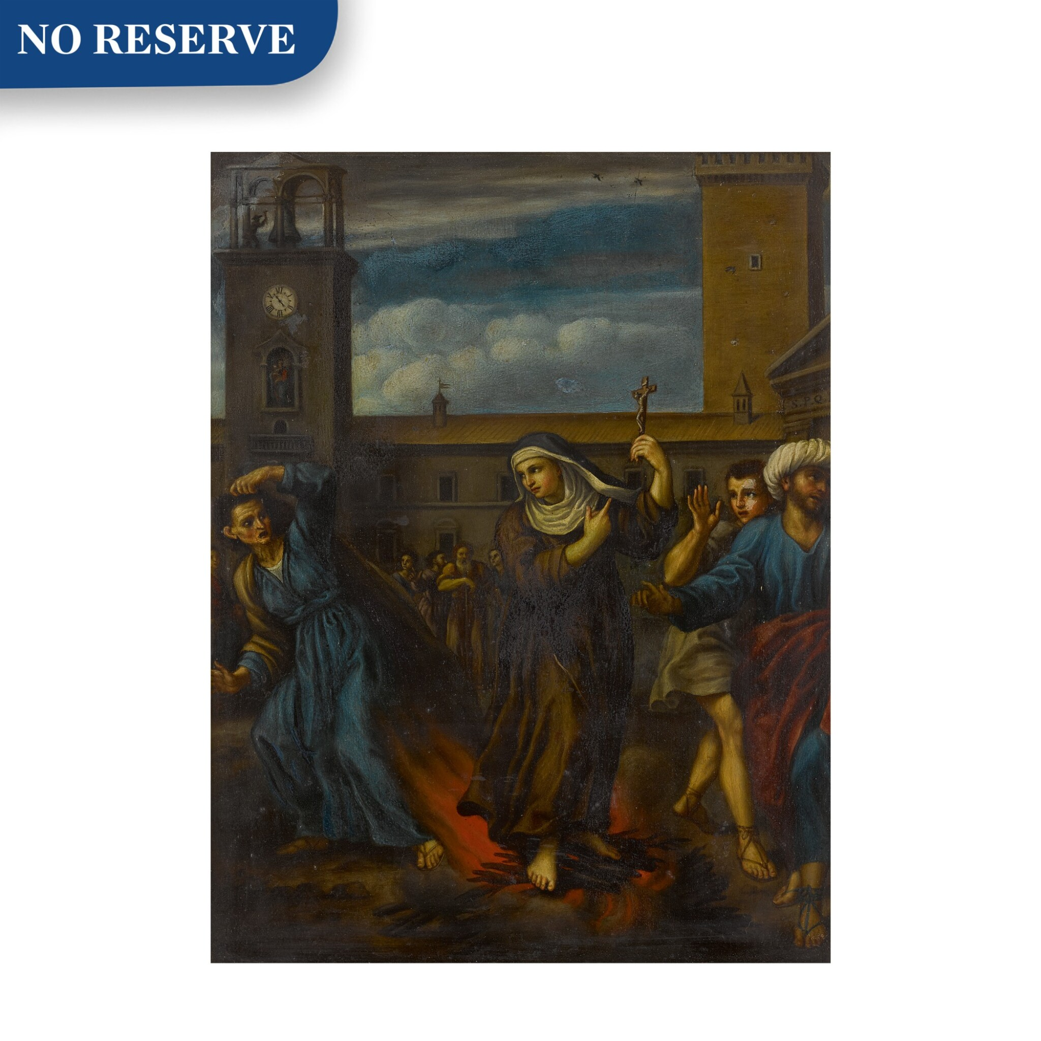View full screen - View 1 of Lot 45. Saint Rose of Viterbo standing on a pyre and defeating a sorceress.