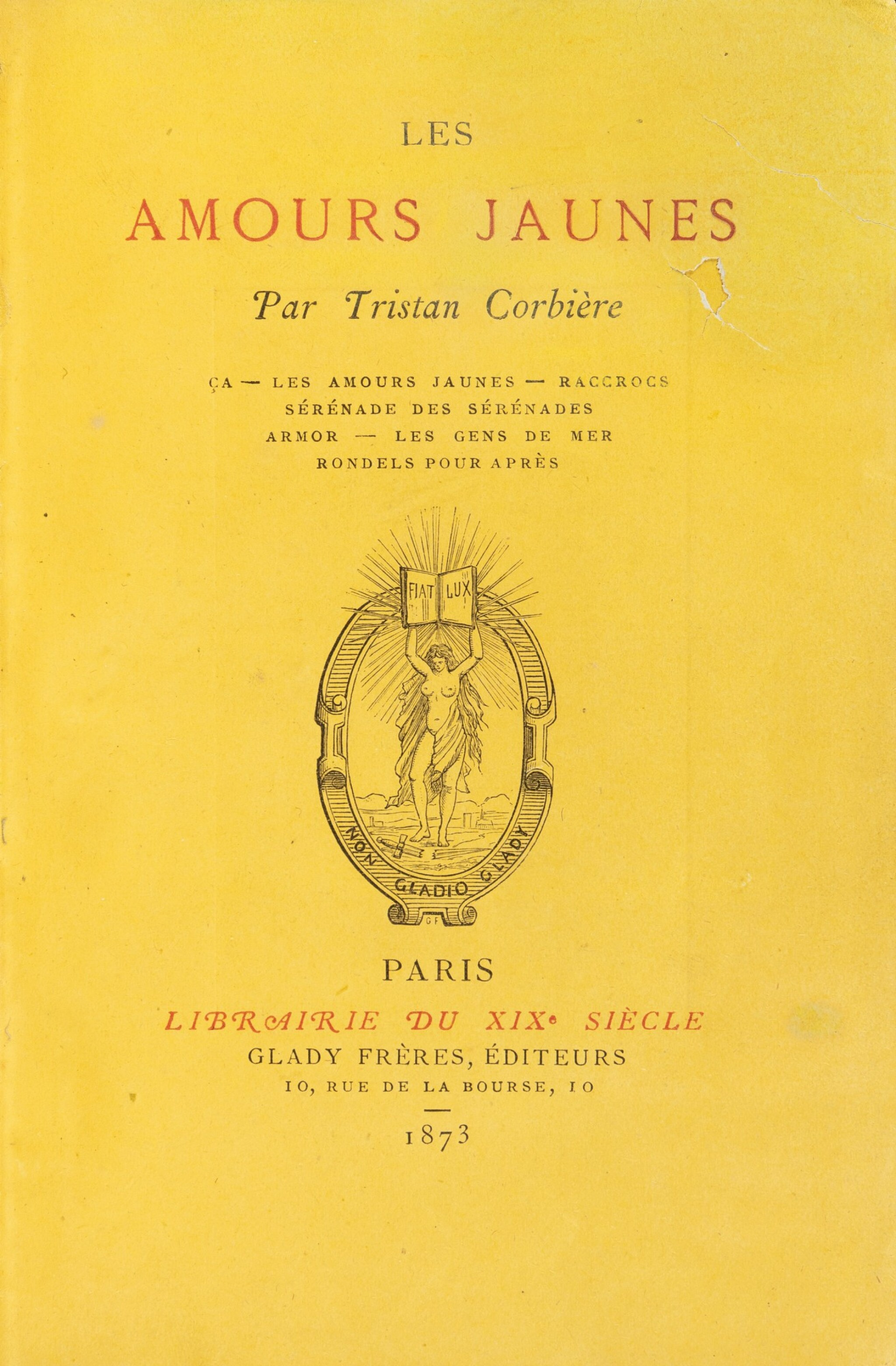 View full screen - View 1 of Lot 85. Les Amours jaunes. 1873. In-12. Ex. sur papier jonquille en reliure signée de l'époque.