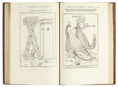 View 1. Thumbnail of Lot 443. Valturio, De re militari, Paris, 1532, modern calf gilt.