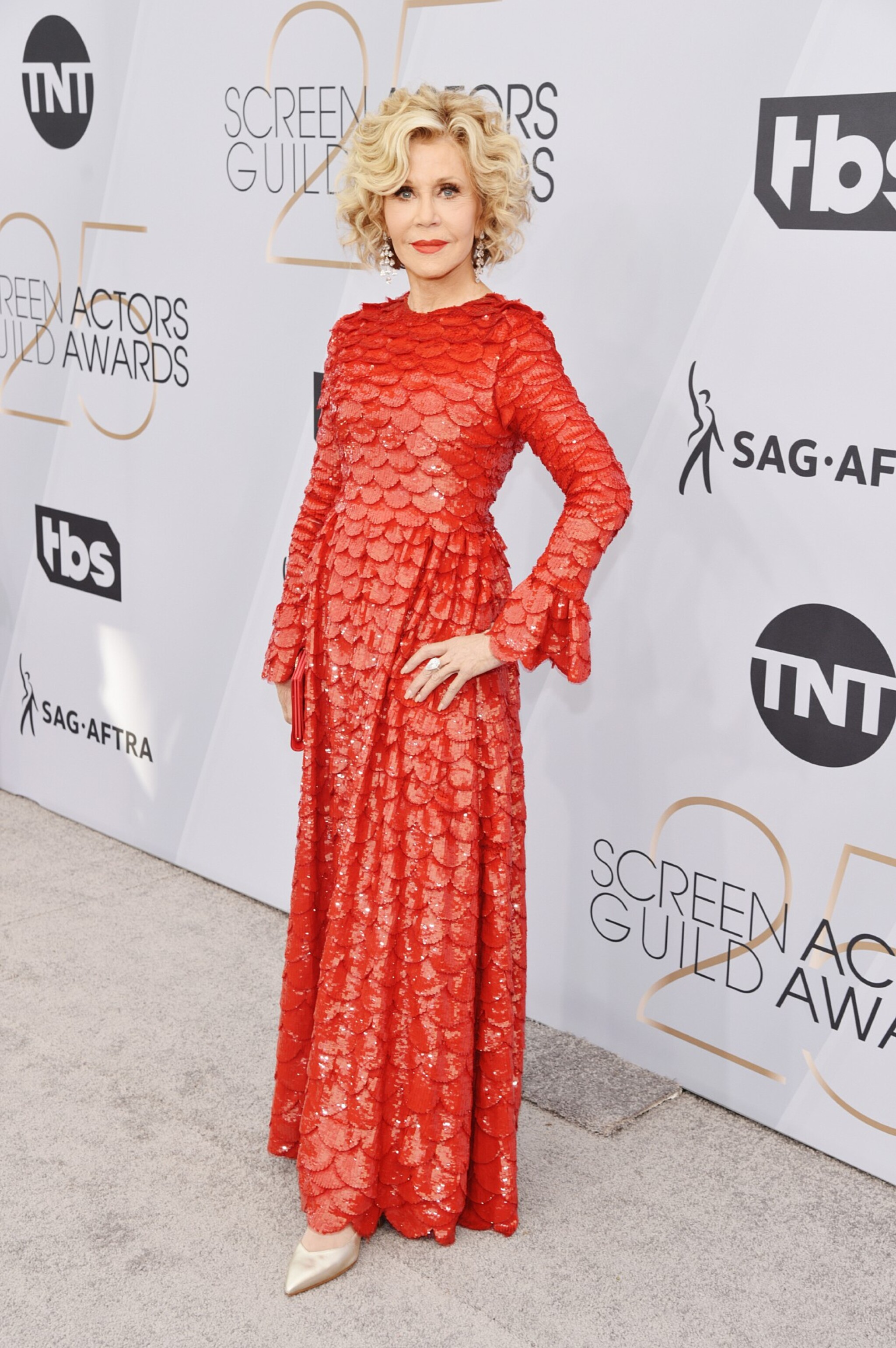 View 1 of Lot 34. Red Tulle Illusion Dress à merlons, Worn by Jane Fonda at the 2020 Screen Actors Guild Awards, Pre-Autumn 2019 Collection.