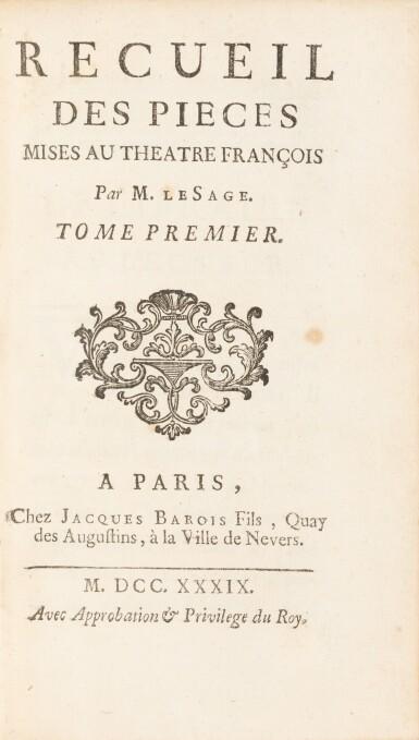 View 4. Thumbnail of Lot 78. Gil Blas. 1747. [Et:] Recueil des pièces... 1739. ensemble de 6 volumes aux armes de la comtesse de Provence..