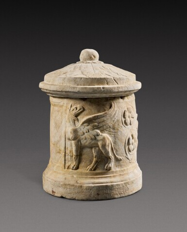 View 2. Thumbnail of Lot 73. A Roman Marble Cinerary Urn and Lid, circa 1st Century A.D..