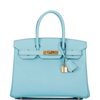 View 1. Thumbnail of Lot 18. Hermès Bleu Atoll Birkin 30cm of Epsom Leather with Gold Hardware .