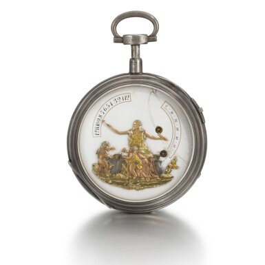 View 1. Thumbnail of Lot 284. SWISS | A SILVER OPEN-FACED QUARTER REPEATING BRAS-EN-L'AIR WATCH WITH JACQUEMARTS, CIRCA 1790.