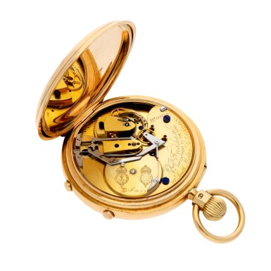 View 2. Thumbnail of Lot 214. A gold hunting cased keyless lever 7½-minute flying tourbillon watch with split seconds chronograph and 60-minute register Movement circa 1917, no. 09765 case hallmarked 1904, no. 09765.