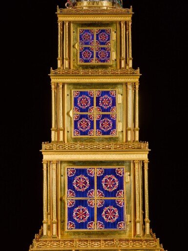 View 7. Thumbnail of Lot 16. John Mottram. A George III gilt-brass and enamel musical automaton clock for the Chinese market, London, circa 1790.