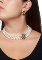 CULTURED PEARL, GEM SET AND DIAMOND DEMI-PARURE
