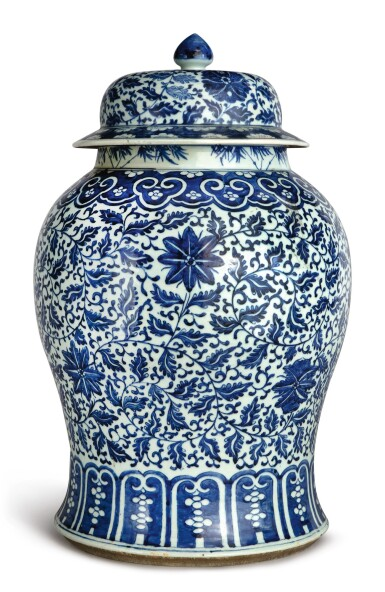 View 2. Thumbnail of Lot 1133. A BLUE AND WHITE 'FLORAL' BALUSTER JAR AND COVER, 19TH CENTURY.
