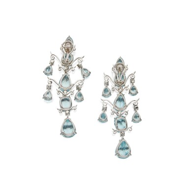 View 2. Thumbnail of Lot 338. Tony Duquette | Pair of Aquamarine and Diamond Pendant-Earclips.