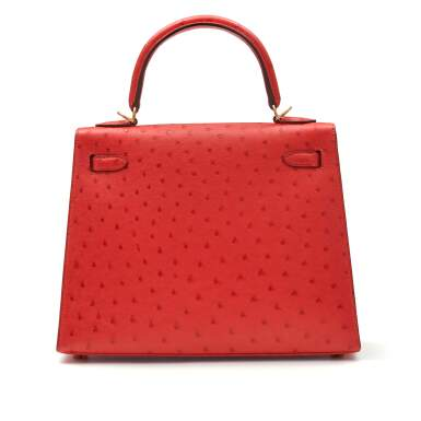 View 4. Thumbnail of Lot 307. Bougainvillier Sellier Kelly 25cm in Ostrich Leather with Gold Hardware, 2018.