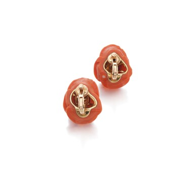 View 3. Thumbnail of Lot 70. Pair of coral and diamond ear clips, 1960s.