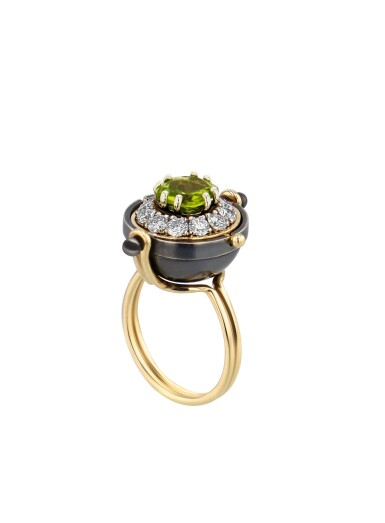 View full screen - View 1 of Lot 10. Elie Top, Peridot and Diamond Ring [Bague Péridot et Diamants], 'Sirius'.