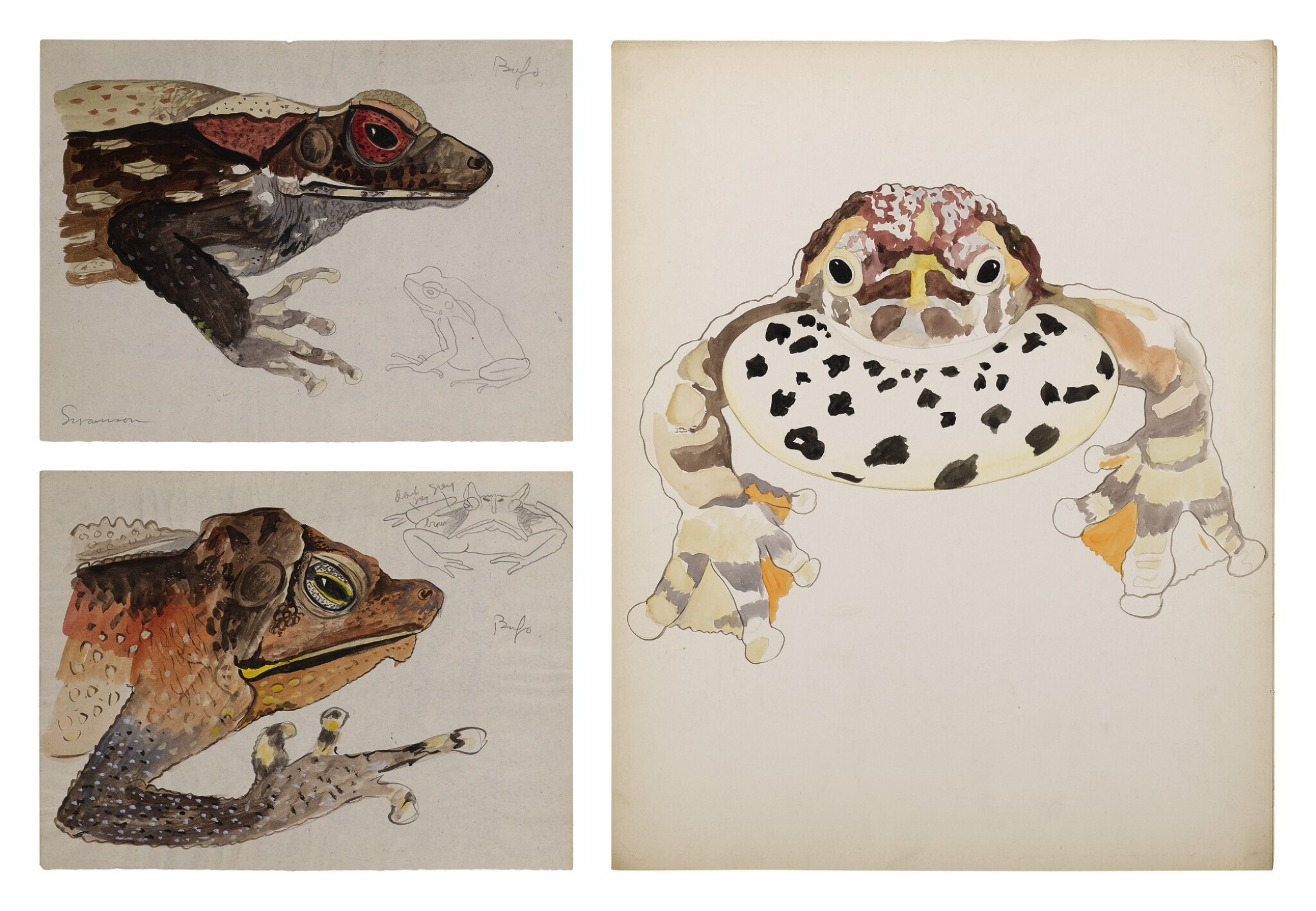 View full screen - View 1 of Lot 4. THREE WORKS: BUFO TOADS.