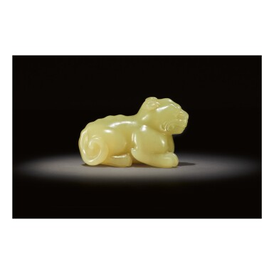 View 2. Thumbnail of Lot 254.  A RARE YELLOW JADE CARVING OF A MYTHICAL BEAST,  SONG - MING DYNASTY.