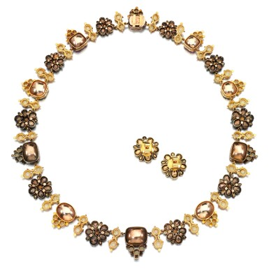View 3. Thumbnail of Lot 52. Gem set, pearl and diamond demi-parure, circa 1800 .