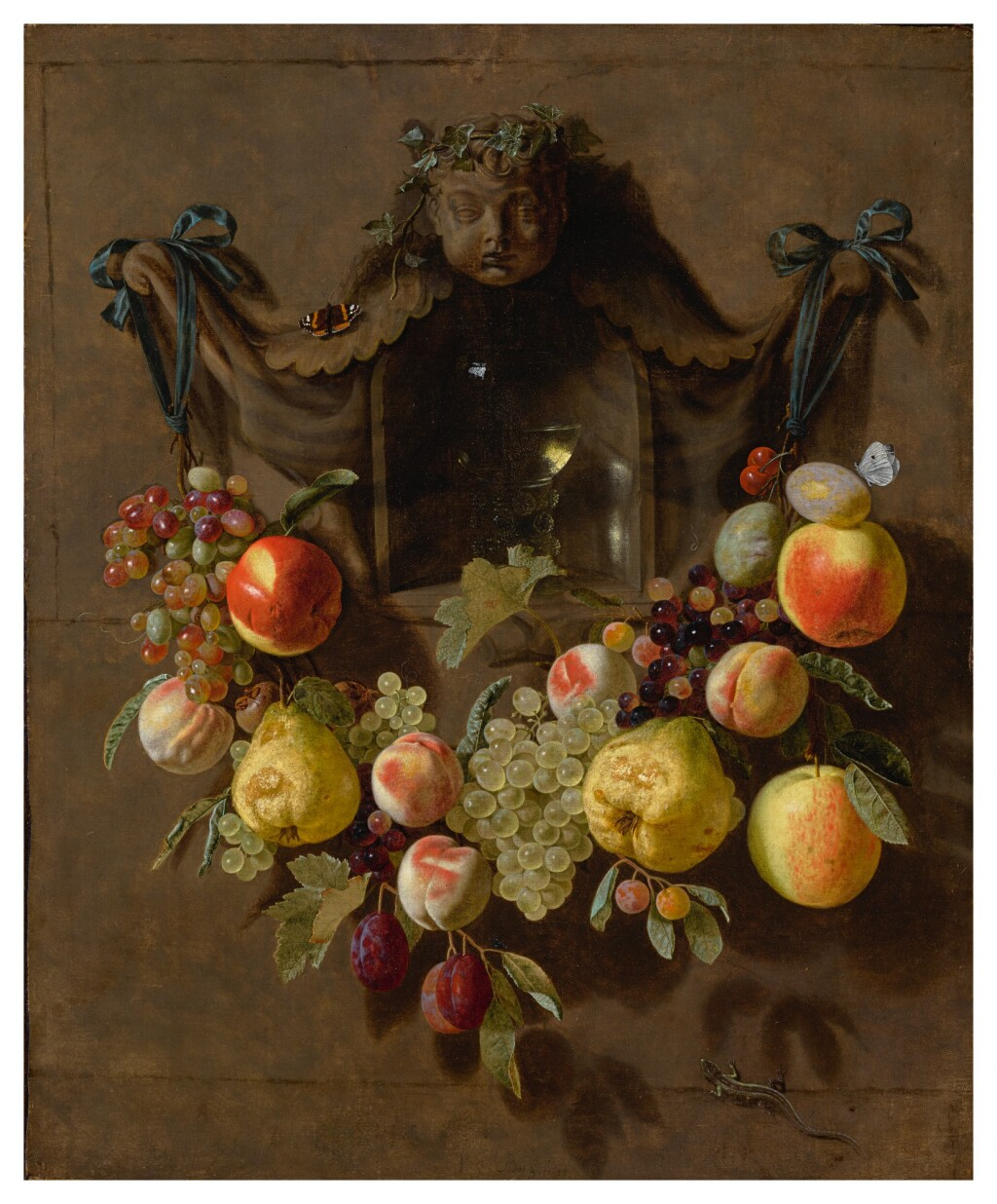 PIETER VAN DEN BOSCH THE YOUNGER   A TROMPE L'OEIL STILL LIFE WITH A SWAG OF GRAPES, PEARS, PEACHES, APPLES, PLUMS, AND BUTTERFLIES DECORATING A NICHE WITH A GLASS ROEMER