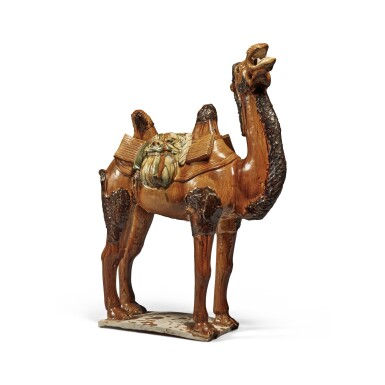 View 4. Thumbnail of Lot 180. A sancai-glazed pottery figure of a camel, Tang dynasty   唐 三彩駱駝.