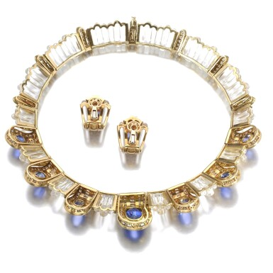 View 3. Thumbnail of Lot 620. Boucheron | Rock crystal, sapphire and diamond demi-parure | 寶詩龍 | 白水晶配藍寶石及鑽石首飾套裝.