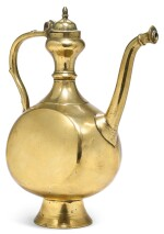 A MUGHAL BRASS EWER, NORTH INDIA, 17TH CENTURY