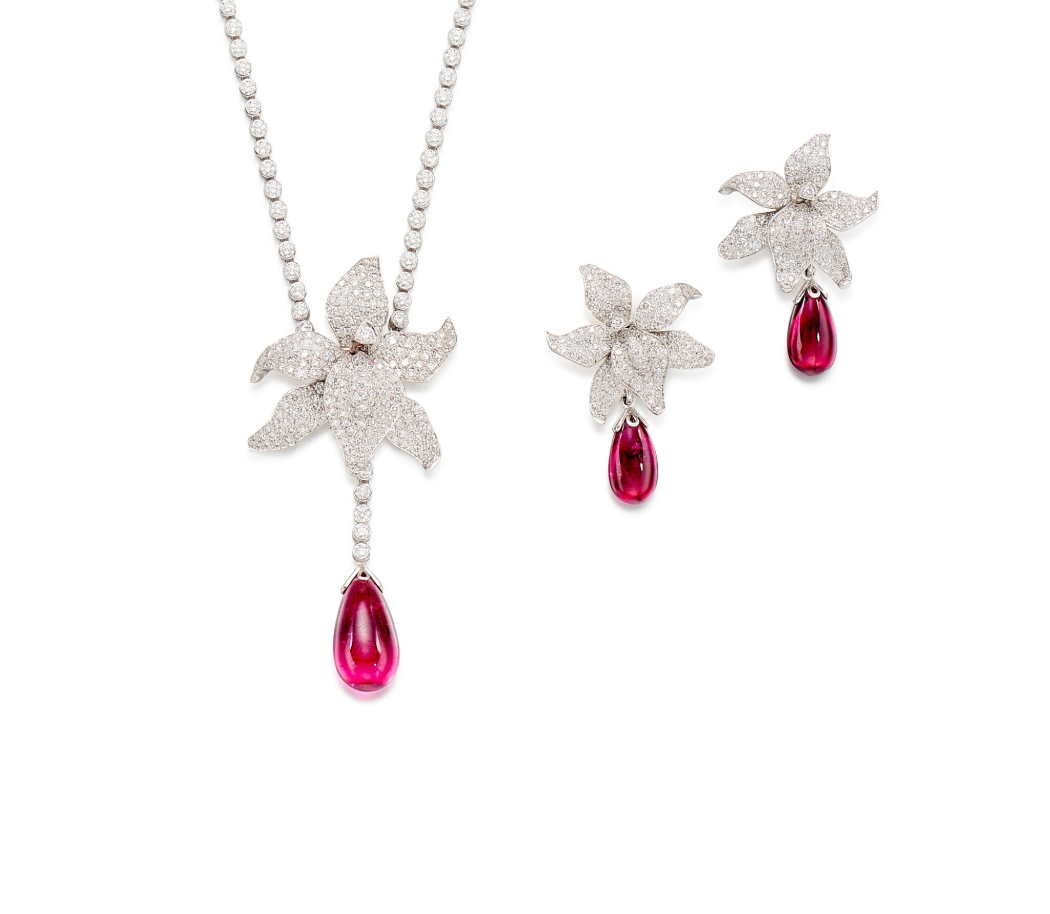 View full screen - View 1 of Lot 1618.  'Caresse D'Orchidées' Rubellite and Diamond Demi-Parure   卡地亞   'Caresse D'Orchidées' 紅寶碧璽 配 鑽石 項鏈及耳墜套裝.