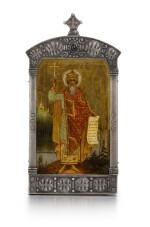 A Rare Fabergé gem-set silver icon of St Vladimir, Moscow, 1908-1917
