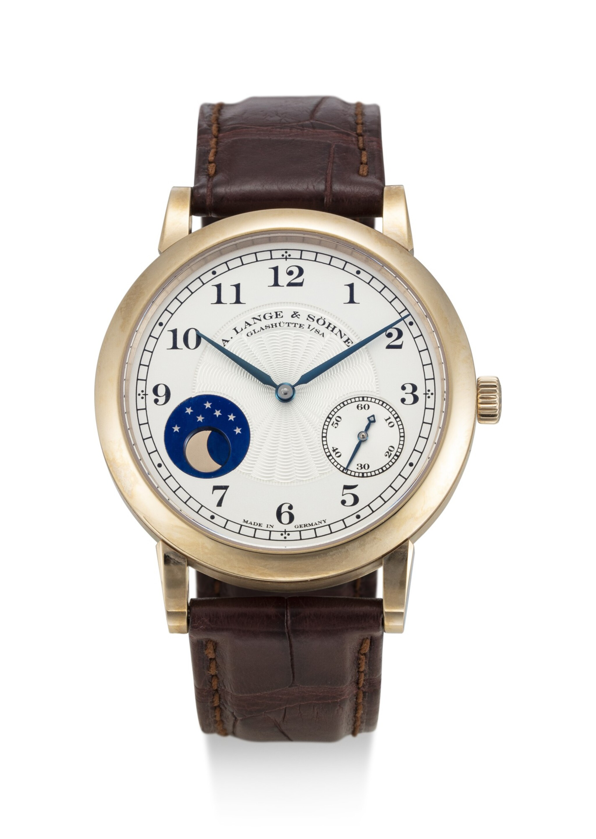 View full screen - View 1 of Lot 62. A. LANGE & SÖHNE | 1815 HOMAGE TO F.A LANGE 1815 MOONPHASE, REFERENCE 212.050, A LIMITED EDITION HONEY GOLD WRISTWATCH WITH HACKING FEATURE AND MOON PHASES, MADE TO COMMEMORATE THE 165TH ANNIVERSARY OF A. LANGE & SÖHNE IN 2010, CIRCA 2011.