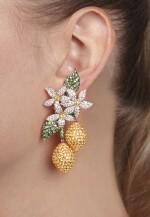 Pair of yellow sapphire, tsavorite and diamond pendent ear clips, 'Limoni', Michele della Valle