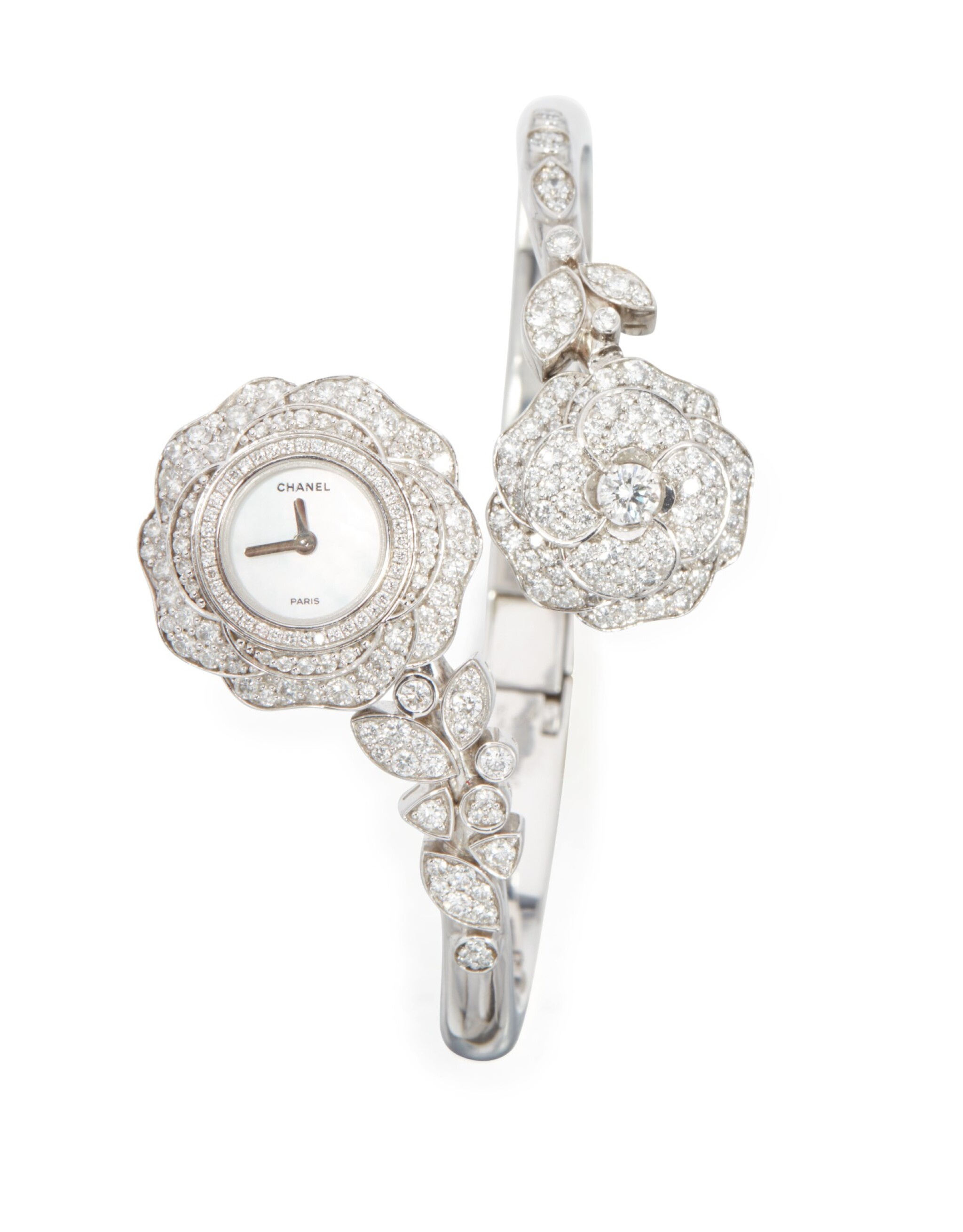 View 1 of Lot 39. DIAMOND AND MOTHER-OF-PEARL 'CAMELLIA' BRACELET-WATCH, CHANEL, FRANCE.