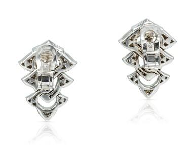 View 3. Thumbnail of Lot 9113. PAIR OF DIAMOND PENDENT EARRINGS, BULGARI | 鑽石吊耳環一對, 寶格麗 ( Bulgari ).