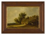 ATTRIBUTED TO PIETER DE NEYN | A WOODED LANDSCAPE WITH A COTTAGE AND FIGURES IN THE FOREGROUND, A PATH THAT EXTENDS BEYOND