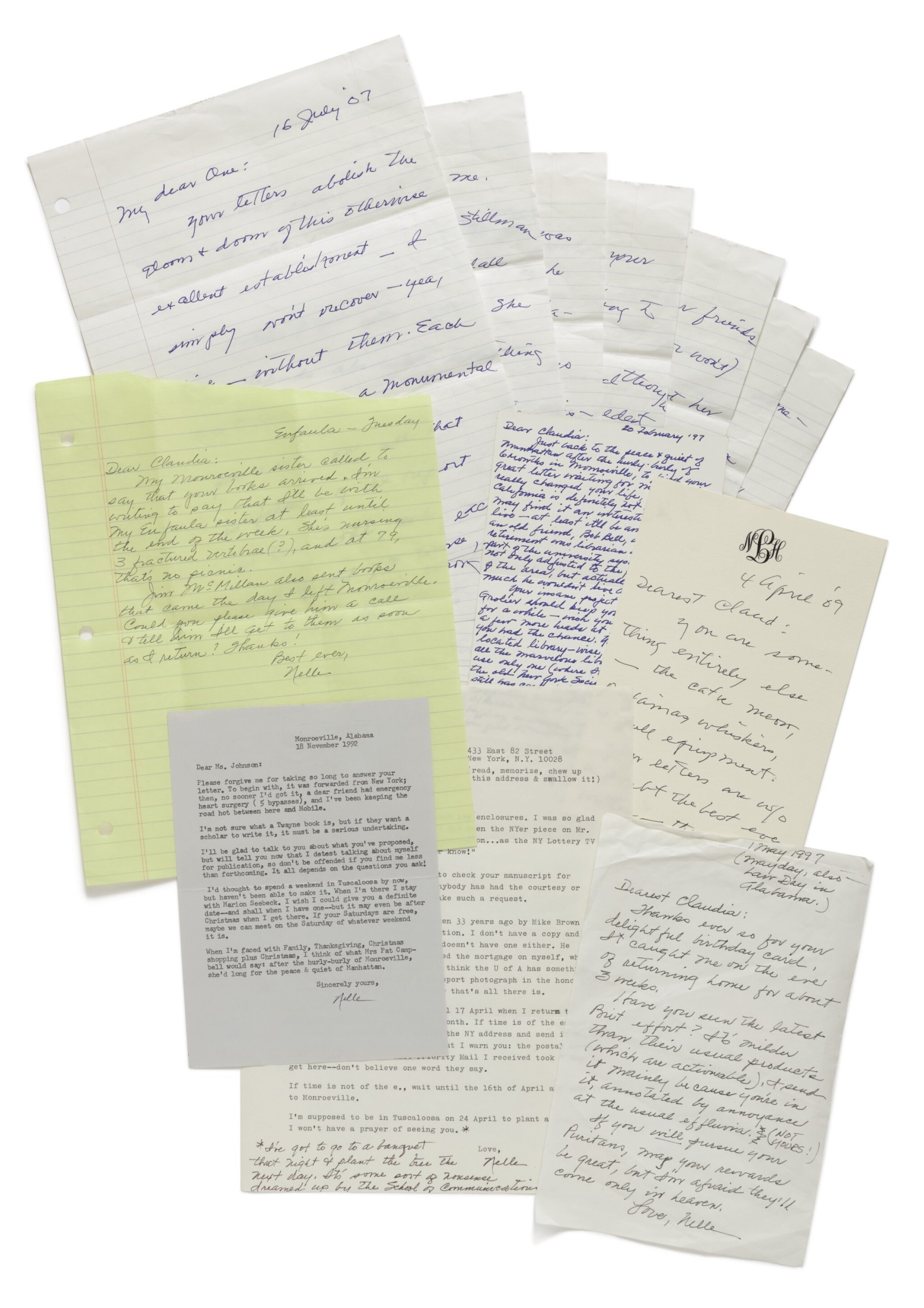 View full screen - View 1 of Lot 151. LEE, HARPER | A fine group of letters to Claudia Durst Johnson and other manuscript material.