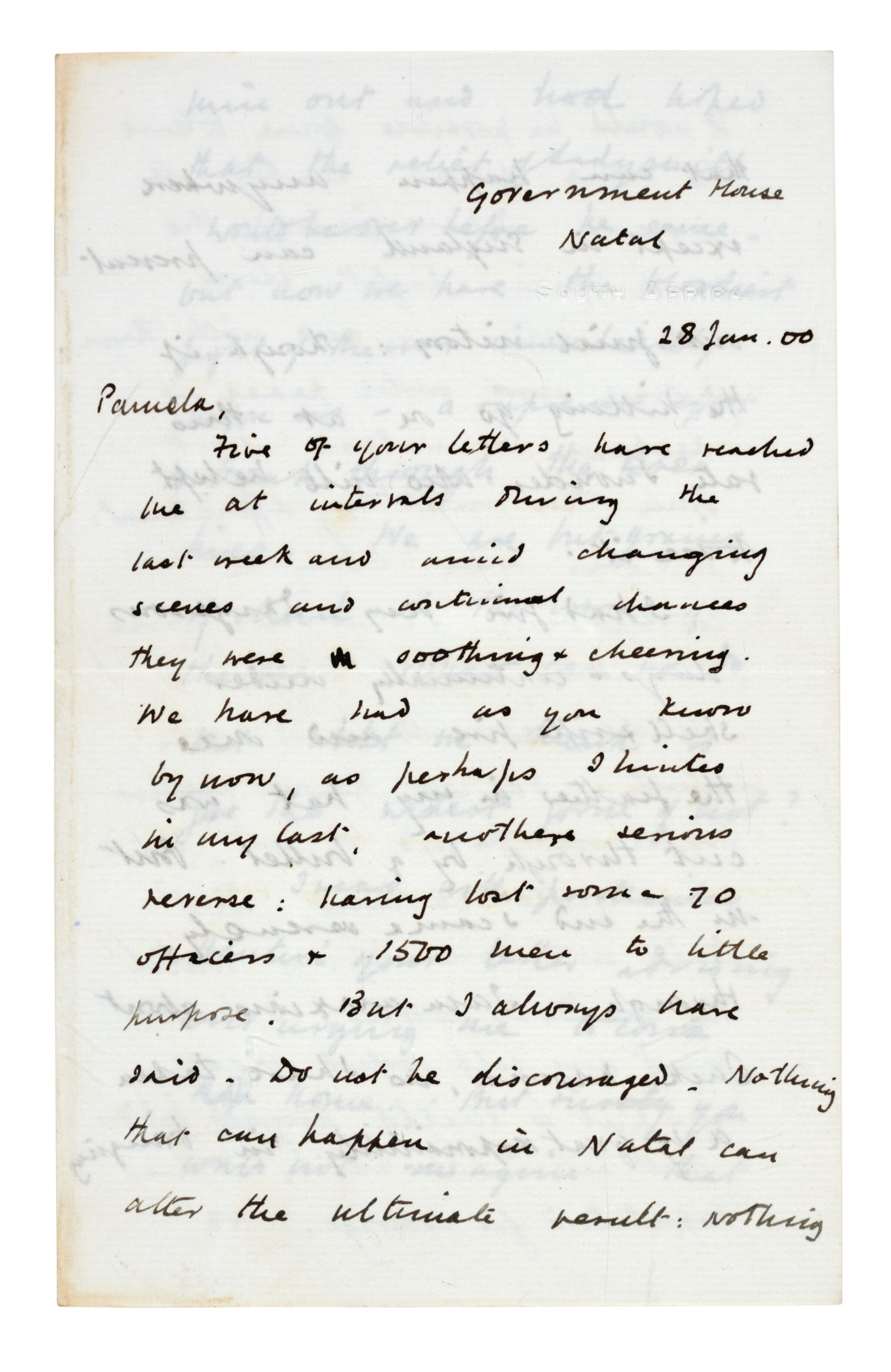 View full screen - View 1 of Lot 26. CHURCHILL | autograph letter signed, to Pamela Plowden, 1900.