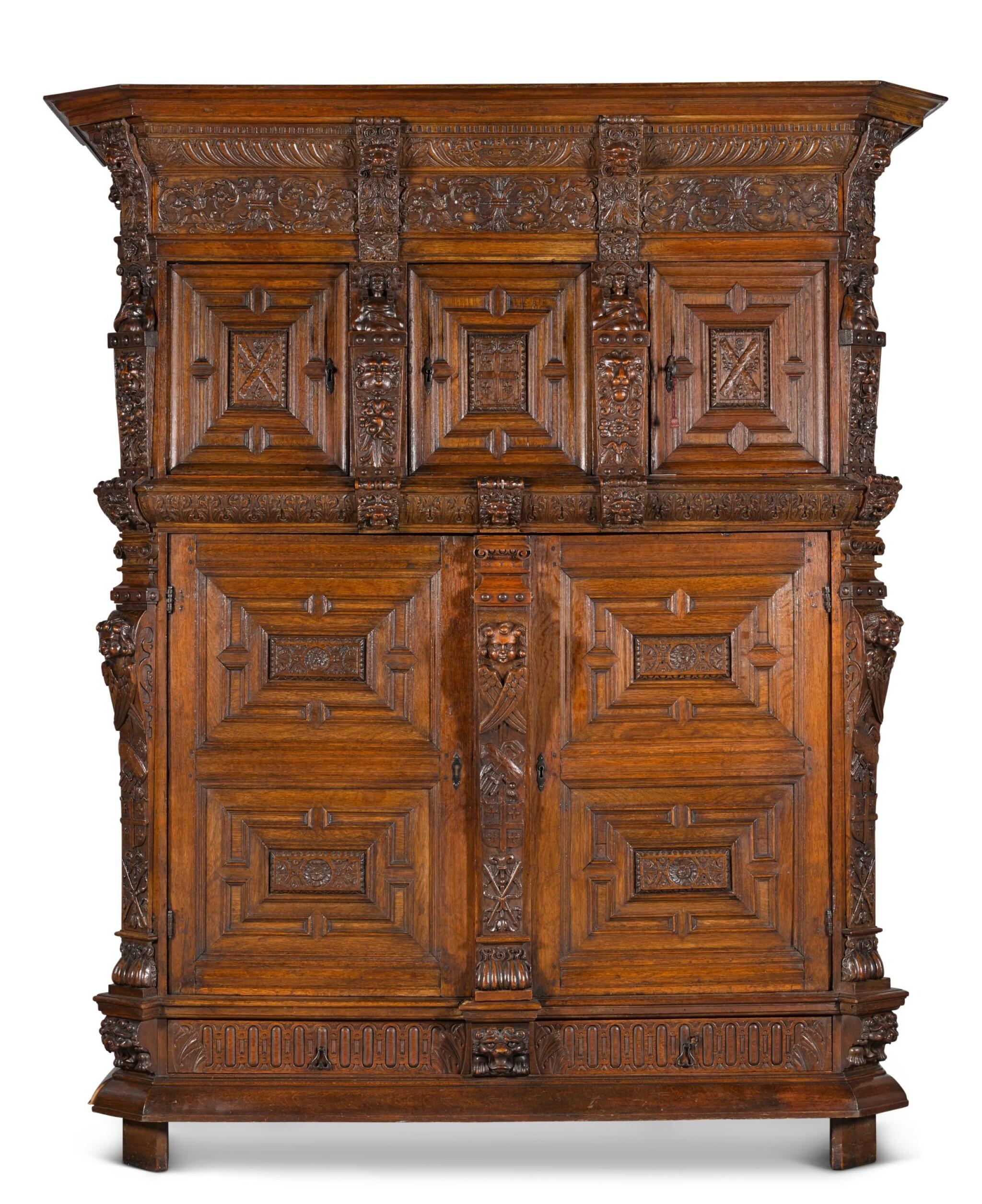 View full screen - View 1 of Lot 5. A Flemish Renaissance style carved oak cabinet (buffet à cinq portes), probably Antwerp.