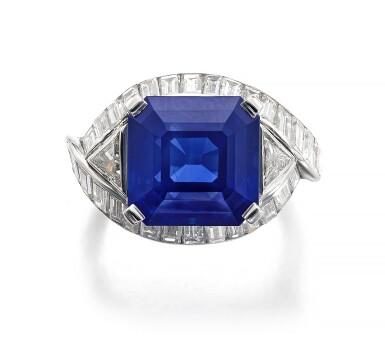 View 1. Thumbnail of Lot 159. Fine Sapphire and diamond ring   藍寶石配鑽石戒指.