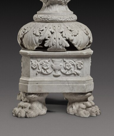 View 4. Thumbnail of Lot 172. An Italian carved white marble candelabrum, Rome, early 19th century.