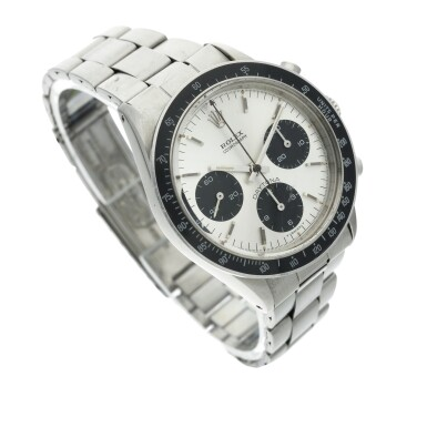 View 4. Thumbnail of Lot 278. Reference 6264 Daytona  A stainless steel chronograph wristwatch with bracelet, Circa 1971 .
