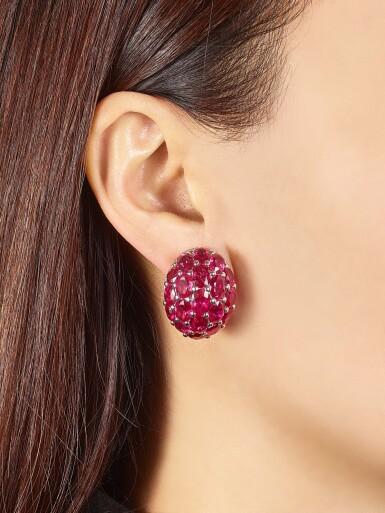 View 1. Thumbnail of Lot 1029. Pair of Ruby and Diamond Earrings | 格拉夫| 紅寶石 配 鑽石 耳環一對 (紅寶石及鑽石共重約33.50及1.80克拉).