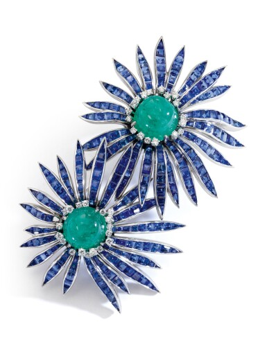 View 2. Thumbnail of Lot 301. VERDURA | EMERALD, SAPPHIRE AND DIAMOND BROOCH, 'DOUBLE ASTER', 1956.