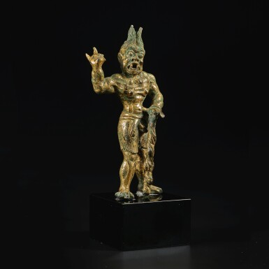 View 2. Thumbnail of Lot 591.  A GILT-BRONZE FIGURE OF A GUARDIAN,  TANG DYNASTY.