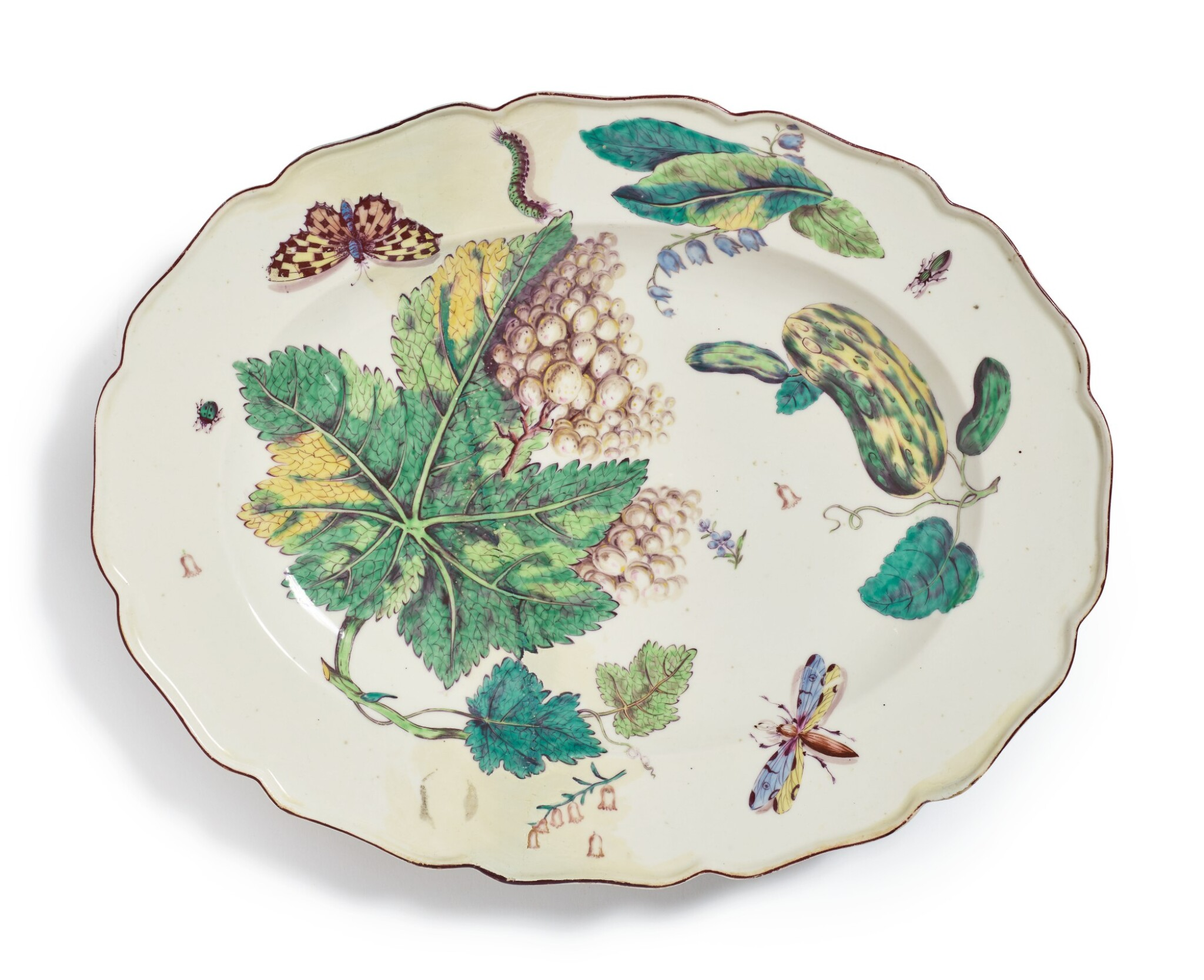 View full screen - View 1 of Lot 162. A CHELSEA 'HANS SLOANE' OVAL PLATTER, CIRCA 1755.