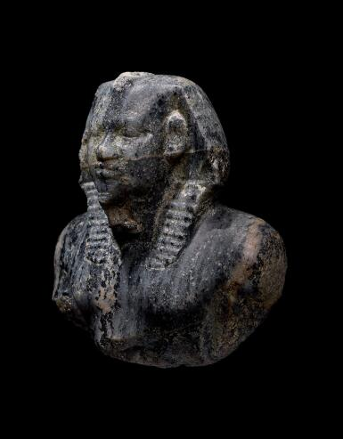 "View 2. Thumbnail of Lot 266. AN EGYPTIAN GNEISS (""CHEPHREN DIORITE"") BUST OF MYCERINUS, 4TH DYNASTY, REIGN OF MYCERINUS, CIRCA 2550-2530 B.C.."