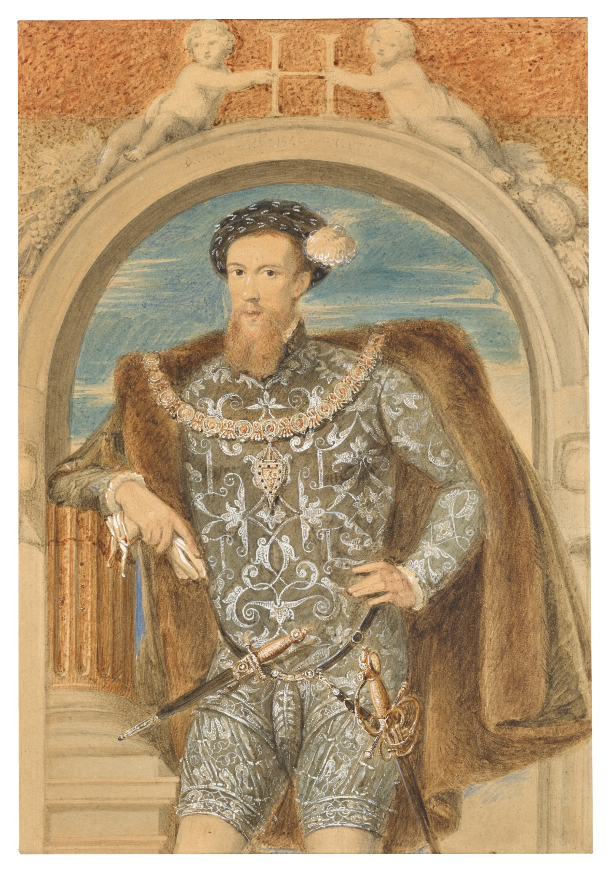 View 1 of Lot 86. WILLIAM DERBY | Portrait of Henry Howard, Earl of Surrey (circa 1517-1547).