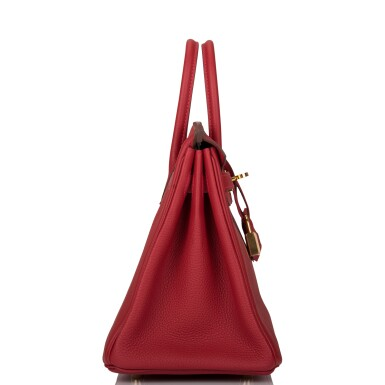 View 3. Thumbnail of Lot 21. HERMÈS   ROUGE VIF BIRKIN 25CM OF TOGO LEATHER WITH GOLD HARDWARE.