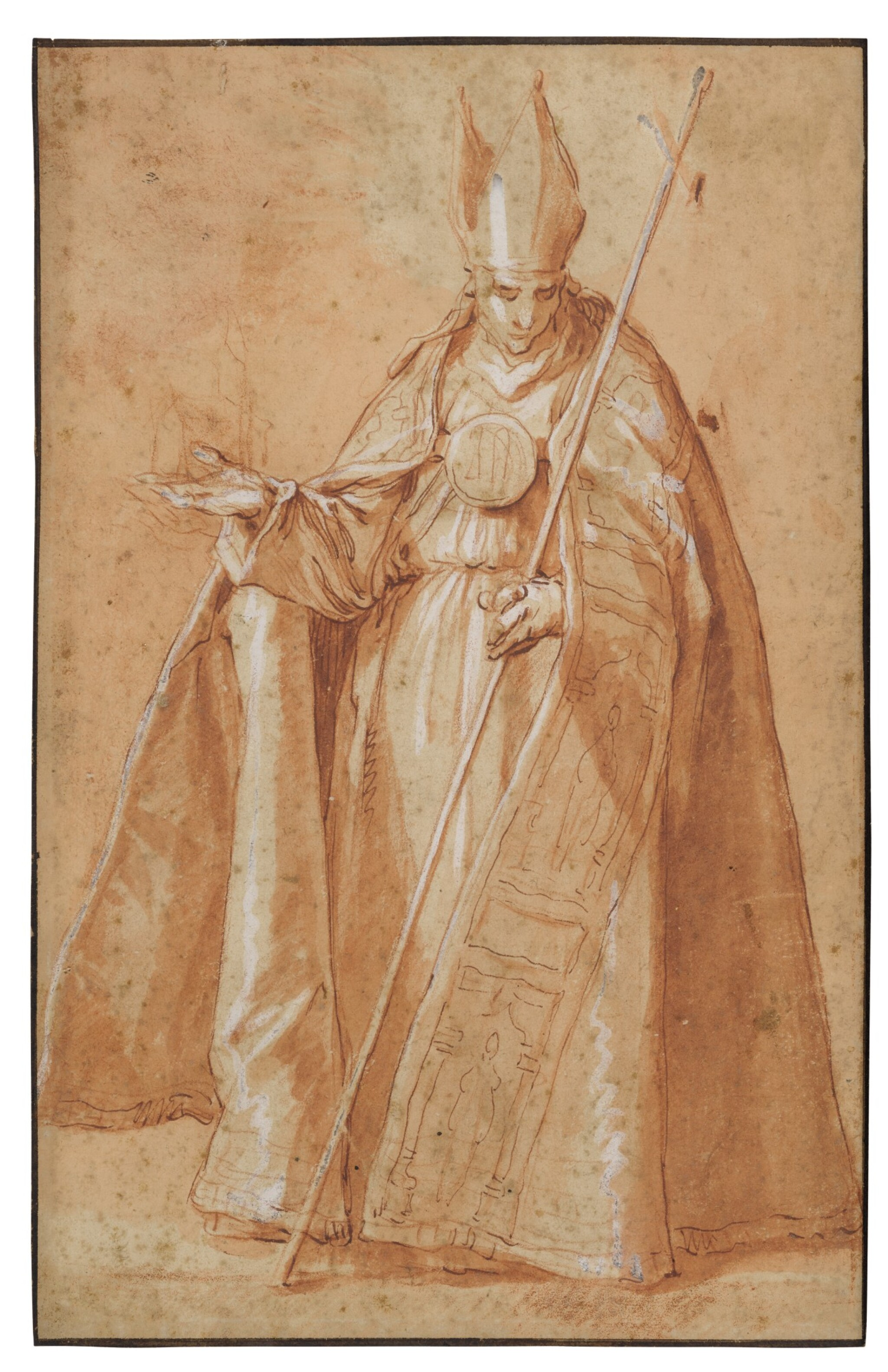 View full screen - View 1 of Lot 22. Recto: A Bishop Verso: A drapery study.