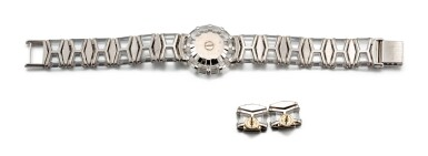 View 3. Thumbnail of Lot 1101. CORUM   LIMELIGHT, REFERENCE 37.780.69 M233 A WHITE GOLD, ROCK CRYSTAL AND DIAMOND-SET BRACELET WATCH WITH A PAIR OF EARRINGS CONVERTED FROM EXTRA LINKS, CIRCA 1993.
