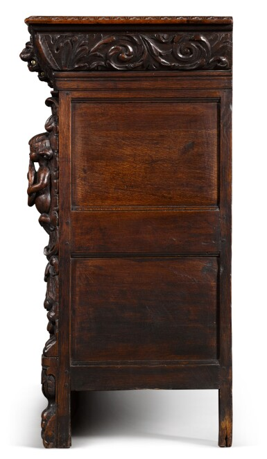 View 3. Thumbnail of Lot 9. A Flemish Renaissance style carved oak low cabinet (ribbank), probably Antwerp.