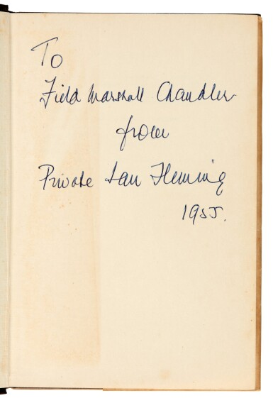 View 1. Thumbnail of Lot 16. FLEMING   Moonraker, 1955, first edition, presentation copy inscribed to Raymond Chandler.