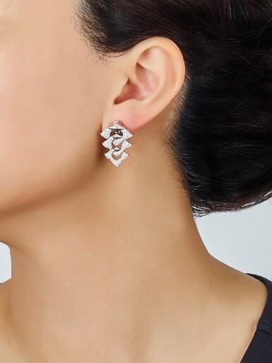 View 4. Thumbnail of Lot 9113. PAIR OF DIAMOND PENDENT EARRINGS, BULGARI | 鑽石吊耳環一對, 寶格麗 ( Bulgari ).